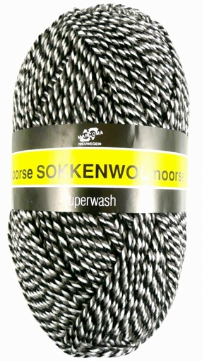 Sokkenwol Noorse wol bruin-zwart-wit 6854