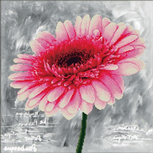 Pink Dahlia 43x43 cm., No-Count Cross Stitch Kits