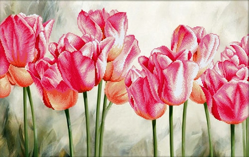 Pink Tulips 67x42 cm., No-Count Cross Stitch Kits
