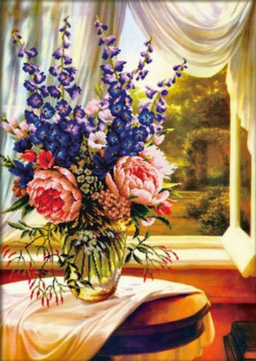Floral Vase by the window 59x83cm., No-Count Cross Stitch Ki