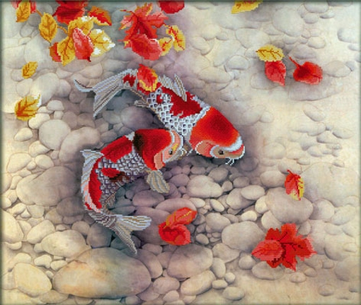 Koi Carp 67x57 cm., No-Count Cross Stitch Kits