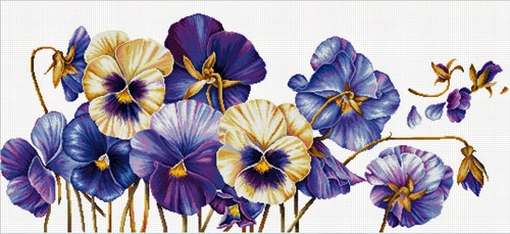 Purple Pansies 97x42 cm., No-Count Cross Stitch Kits