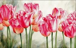 Pink Tulips 67x42 cm., No-Count Cross Stitch Kits