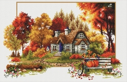 Autumn Cottage 48x31 cm., No-Count Cross Stitch Kits