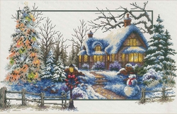 Winter Cottage 51x32 cm., No-Count Cross Stitch Kits