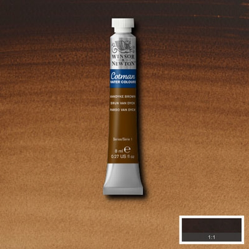 Cotman Water Colour Vandyke Brown, tube 8 ml.