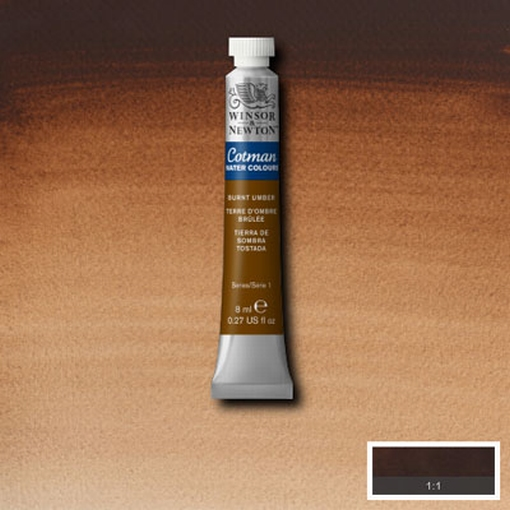 Cotman Water Colour Burnt Umber, tube 8 ml.