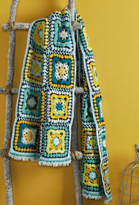 Haakpatroon Granny square sjaal