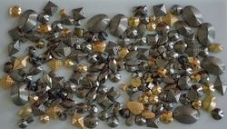 Studs, assortiment in kleur zilver, oud zilver, brons & goud